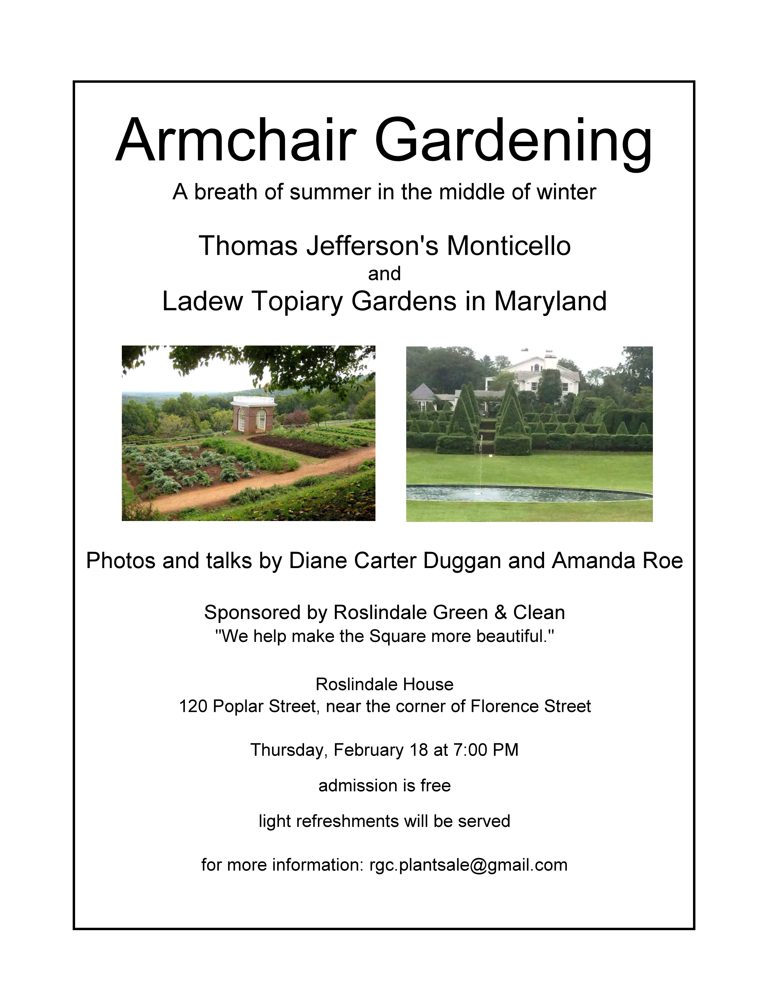 February 2016 Armchair Gardening Presentation Announcement