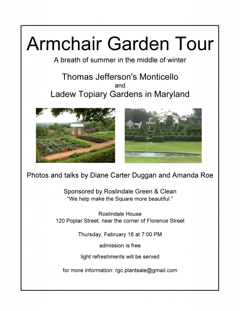 February 2016 Armchair Garden Tour Presentation Announcement