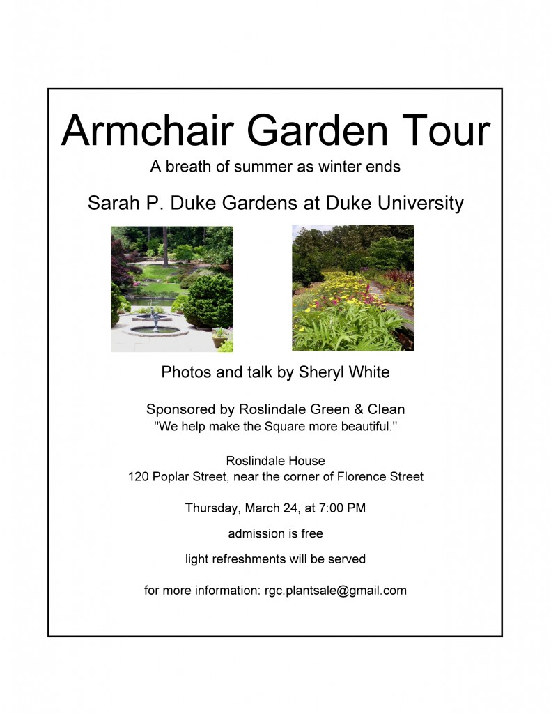 March 2016 Armchair Garden Tour Presentation Announcement